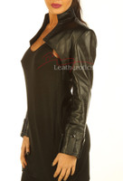 Ladies Leather Top Bolero with long sleeves pic 4