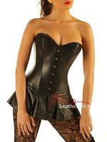 Bespoke Leather Skirted Corset Full Steel Boned Tight Lacing