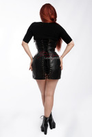 Laceup Leather Skirted Corset Dress - Back