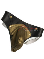 Mens Gold Leather Jockstrap limited edition - detachable pouch