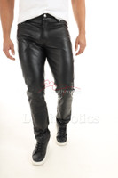Mens genuine leather pants 3