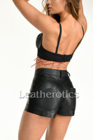 Tight Fit Black Leather Booty Shorts 1