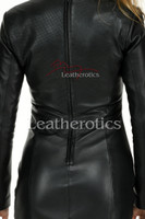 Knee length Leather Dress With Sleeves - details