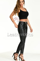 Tight leather trousers with ankle zipper- front