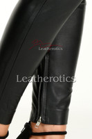 Tight leather trousers with ankle zipper- details