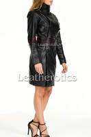 Knee length leather dress with belt - front