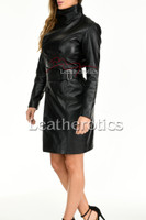 Knee length leather dress with belt - front 2