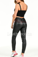 Mid rise Real Perforated Leather Leggings - back