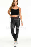 Perforated Leather Leggings - front