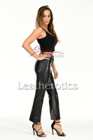 Flared leather trousers - side