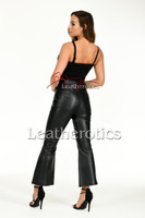Flared leather trousers - back