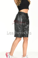 Women's Perforated Black Leather Shorts 4