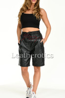 Women's Perforated Black Leather Shorts 5