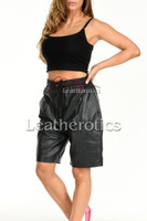 Women's Perforated Black Leather Shorts 1