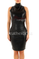 Sleeveless Leather dress - front 4