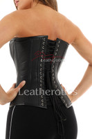 Perforated Leather Back Lacing Corset Overbust - back