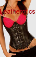 Black Leather Gothic Corset Under Bust Cupless Lacing