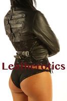 leather bondage straitjacket in black