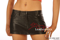 Leather Micro Mini Tight Sexy Skirt jeans style 5 pockets