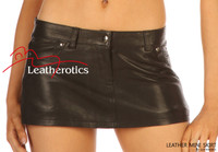 Leather Micro Mini Tight Sexy Skirt jeans style 5 pockets  image 2