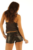 Real Leather Made Jeans Style Tight Shorts Hotpants Hipster Fit  image 3