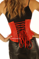 Red Under Bust Leather Corset Waist Trainer image 2
