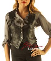 Soft Leather Fashion Ladies vest WC1