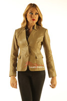 Ladies Tan Leather Blazer Jacket Classic Stylish Coat front view2