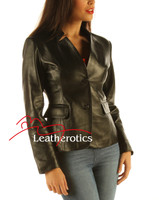Ladies Leather Blazer Jacket Classic Coat side view