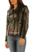 Ladies Leather Blazer Jacket Classic Coat side view 2
