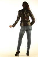 Ladies Leather Blazer Jacket Classic Coat back view