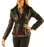 Women's Leather Jacket Wrap Around Belted Top front zoom view