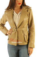 Ladies Belted Leather Jacket Top Tan Color front view