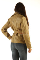Ladies Belted Leather Jacket Top Tan Color back view