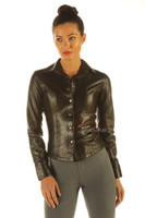Ladies Soft Leather Shirt Top Clothing Long Full Sleeves front zoom view