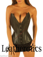 Full Grain Leather Corset Double Steel Boned Cleavage Enhancer