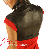 Full Grain Leather High Waisted Short Top Waist Coat Top Trendy back view