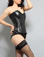 Full Grain Real Leather Corset Black Steel Boned Lacing Lined top 1841 side view