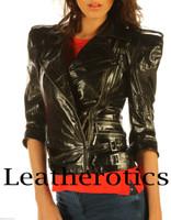 Ladies Leather Jacket Waist Length Top  Detailed Zipper JC57 image 1