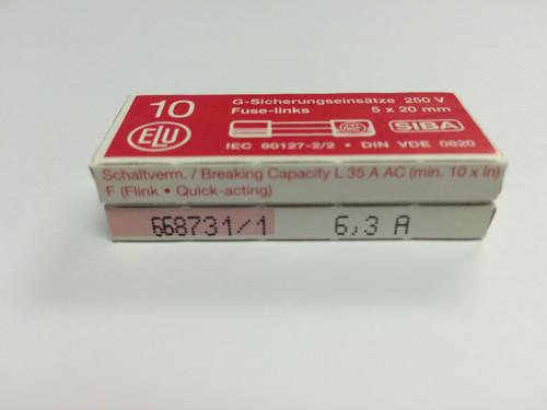 SIBA Fuse 70 001 34 179020 5 x 20 mm 6.3A