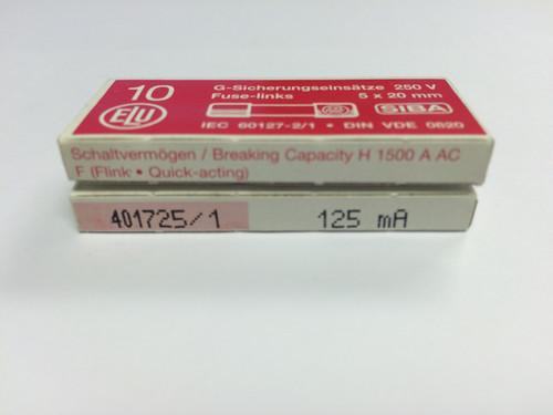 SIBA Fuses 7000733 179021 125mA Ceramic 5 x 20 mm Fuse