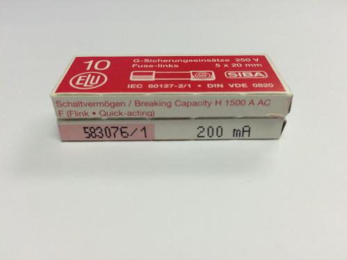 SIBA Fuses 7000733 179021 5 x 20 mm Ceramic Fuse 200mA