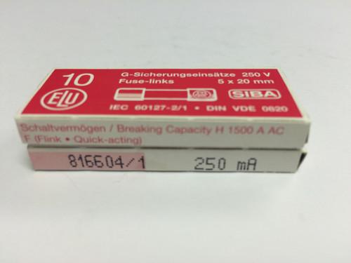 SIBA Fuses 7000733 179021 5 x 20 mm Ceramic Fuse 250mA