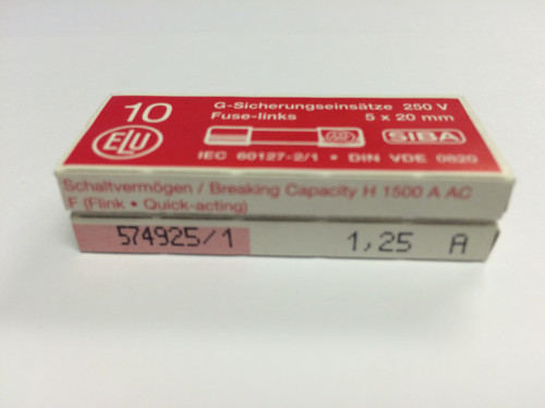 SIBA Fuses 7000733 179021 5 x 20 mm Ceramic Fuse 1.25A