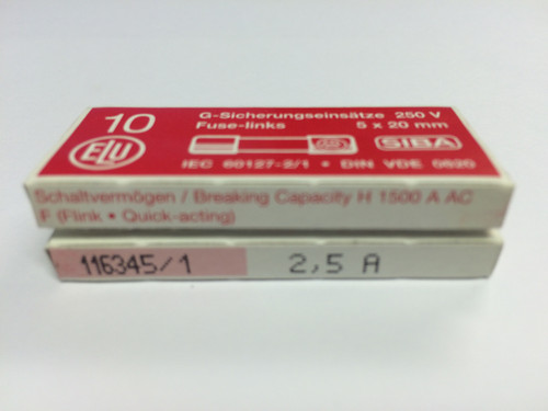 SIBA Fuse 70 007 33 5 x 20 mm Ceramic Fuse 2.5A