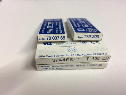SIBA Fuse 7000765 70 007 65 179200 Ceramic 5 x 20mm 100mA Time Lag Fuse