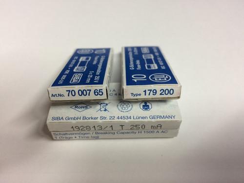 SIBA Fuse 70 007 65 7000765 179200 Ceramic 250mA Time Lag Fuse
