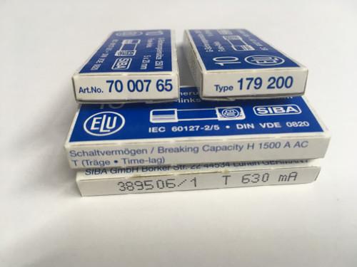 SIBA Fuse 70 007 65 7000765 179200 Ceramic  5 x 20 mm 630mA Time Lag Fuse