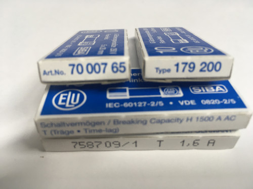 SIBA Fuse 70 007 65 7000765 179200 Ceramic  5 x 20 mm 1.6A Time Lag Fuse
