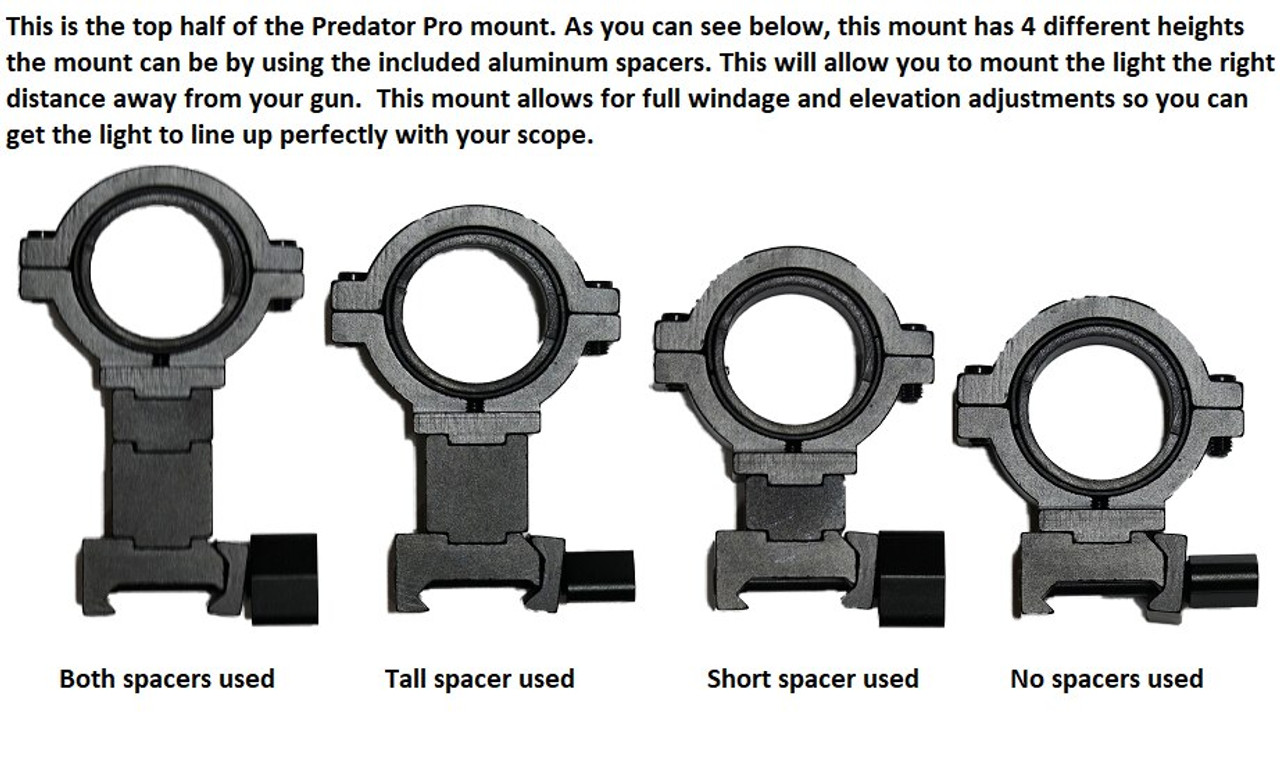 Predator Pro Mount, Windage, Elevation and height adjustable. Mounts to rails and scopes.